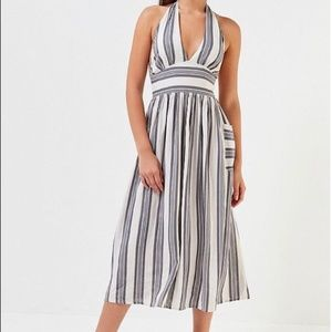 Urban Outfitters | Striped Halter Maxi Dress Large
